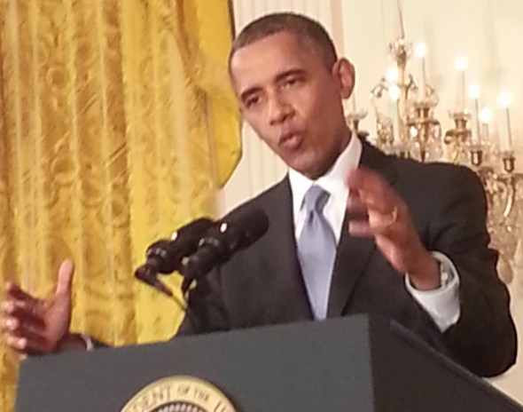 President Obama at my last White House press conference in August. (Photo by Rick Dunham)