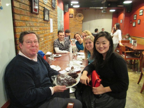 Birthday barbecue: Plates of tasty food at Home Plate BBQ in Beijing (with Troy Hernandez, Agnes Kreitz, Sara Balajthy, Caroline Ward and Mengfei Chen)