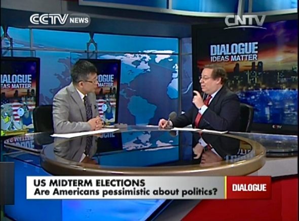 Live on CCTV as a Beijing-based expert on U.S. politics.