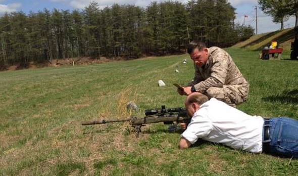 Louie Gohmert practices his sharpshooting in Quantico, Va.