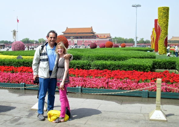 Ken and Sharon in Tian'anmen Square, with the Forbidden City in the background.