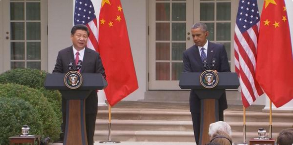 The two presidents take questions from the U.S. and Chinese media on Sept. 25.